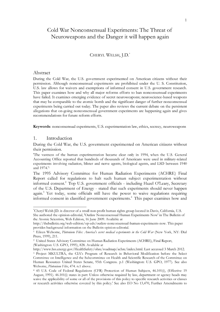 Cold War Nonconsensual Experiments: The Threat of Neuroweapons and the Danger it will happen again - Page 1