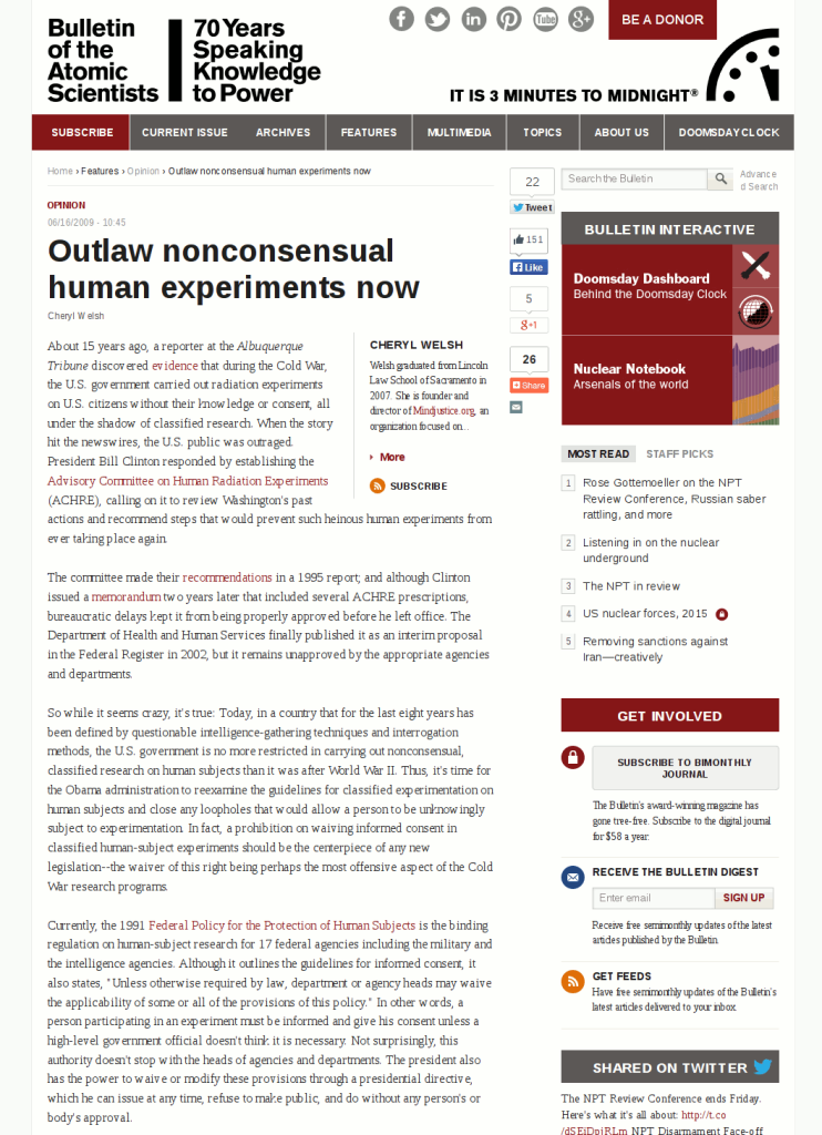 Outlaw nonconsensual human experiments now - Bulletin of the Atomic Scientists