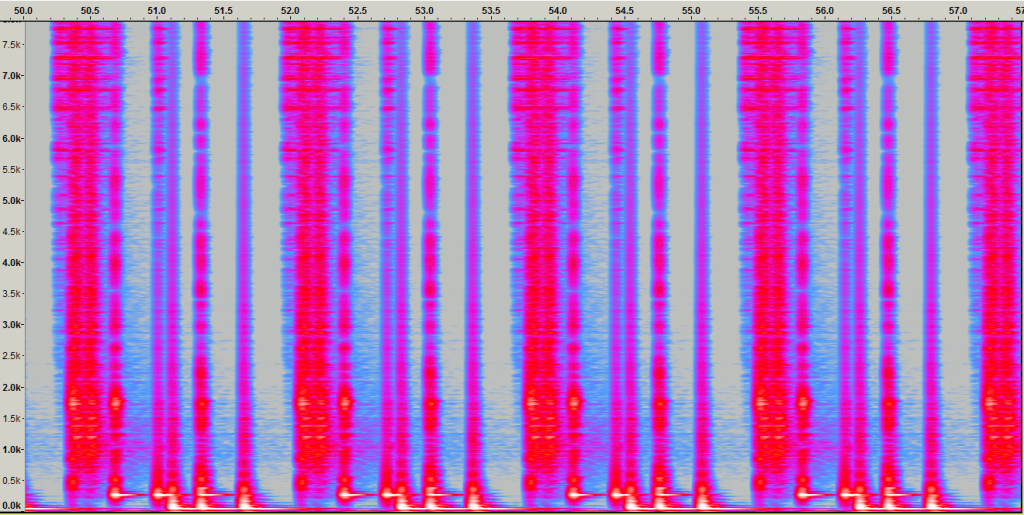 Propellerhead Rebirth RB338 zoomed out spectral waveform.
